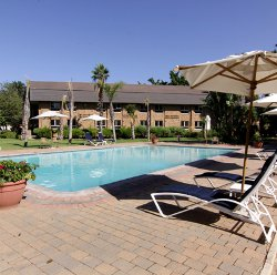 The outdoor area of the Cresta Lodge in Gaborone.