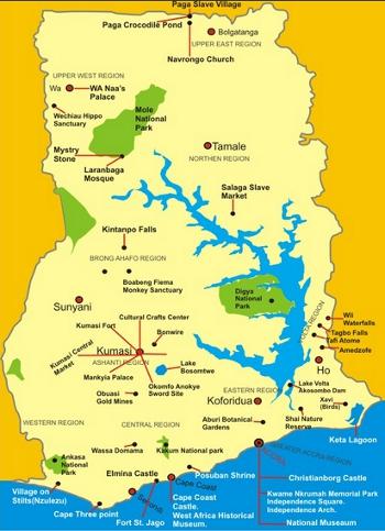 Tourist sites in Ghana