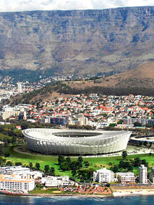The newly constructed stadium in Cape Town, South Africa.