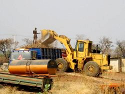 Cassava tubers loaded onto a truck