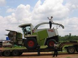 The arrival of the new forage harvester