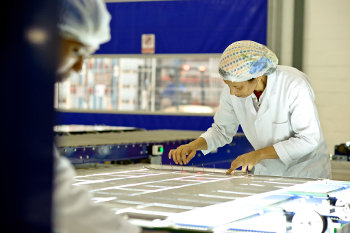 Solairedirect employees at the firm's PV module manufacturing plant in Cape Town, South Africa