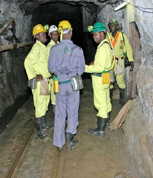 Rio Zim mineworkers in one of the mining shafts