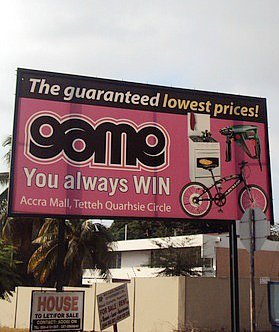A billboard for Massmart's Game store in Accra, Ghana