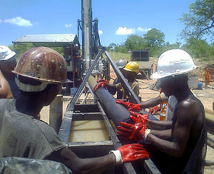 Drilling activities at Riversdale's Benga coal project in Mozambique.