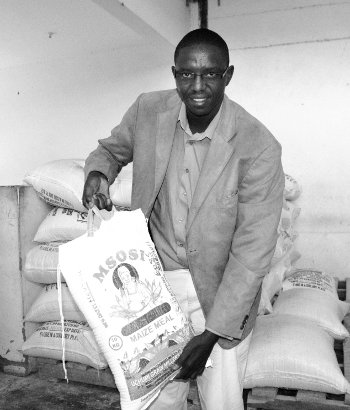 Isaac Chege with a bag of Msosi maize meal