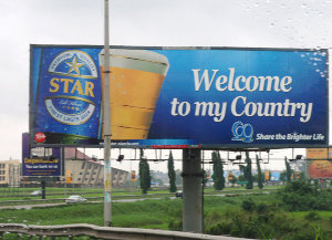 A billboard for Star beer in Lagos, Nigeria