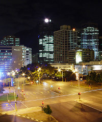 Cape Town's central business district at night.
