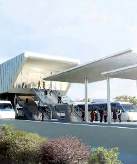 An artist's impression of one of Lagos' proposed light rail stations.