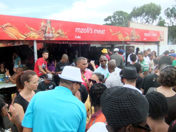 Over weekends Mzoli's is bustling with people from all walks of life.