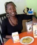 Tei Mukunyi displays Azuri Health Limited's range of products.
