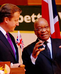 Cameron and Zuma during the UK prime minister's trip to South Africa.