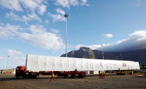 I-WEC's 50 metre wind turbine blade mould during transport to the company's workshop in Cape Town.