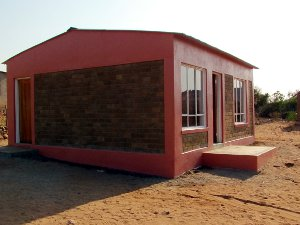 A completed house in Gombani built with Hydraform's interlocking blocks.