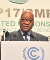 South African President Jacob Zuma speaking at the opening of COP17 conference.