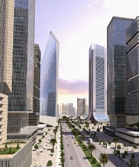 An artist's impression of Lagos's new Eko Atlantic City development, currently being built on land reclaimed from the Atlantic Ocean. According to the AfDB, 65% of the continent's population will live in cities by 2060.