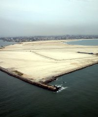 An aerial picture of land reclaimed from the ocean for the Eko Atlantic City project.