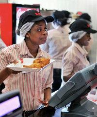 Inside the KFC restaurant in Accra, Ghana.