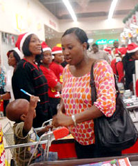 Shoppers at a Shoprite outlet in Nigeria.