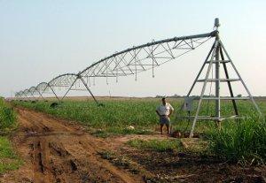 South African farmer Pieter van der Westhuizen at one of his Senter 360 centre pivots.