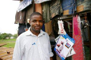 A merchant selling clothing in Kwara State, Nigeria.
