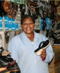 Victoria Itibi, a shoe trader in Nairobi, is one of the entrepreneurs that has benefited from SME Quick Loans.