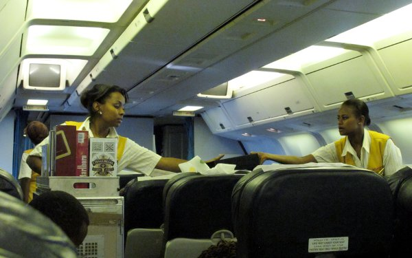 On board Ethiopian Airlines from Johannesburg to Addis Ababa.
