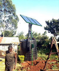 A SunCulture solar irrigation kit installation in Limuru, Kenya.
