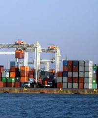 Containers at the Port of Durban. Photo by Christophe Badoux.