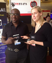 OTGPlaya co-founder Modupe Ajibola and a delegate at Demo Africa