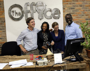 Jon Stever (left), founder of The Office, says there is a persuasive economic argument to sharing an office in Kigali.