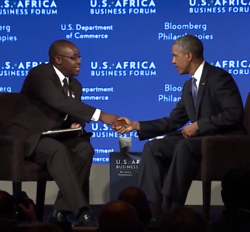 Takunda Ralph Michael Chingonzo conducts a Q&A session with US President Obama.