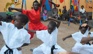 Children learning kung fu