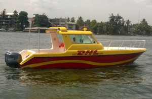DHL is using a boat to overcome traffic congestion in Lagos.