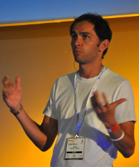 Alan Knott-Craig speaking at AfricaCom last month about his latest venture, Project Isizwe.