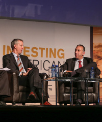 David Thomas (left) and Bert Koth (right) during a panel discussion on private equity's impact on the mining sector at the recent Investing in African Mining Indaba held in Cape Town.