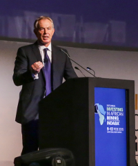 Former British Prime Minister, Tony Blair, during his speech at the Investing in African Mining Indaba held in Cape Town last week.
