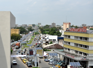 The main street of Douala's business district, Akwa.