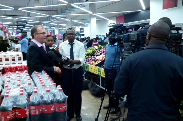 Massmart Africa director Mark Turner speaks to the media inside the Game store at Garden City. The opening of Game, part of South Africa's Massmart, marked the retailer's first entry into the Kenyan market.
