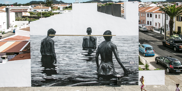 Gordon's mural in Azores, Portugal titled 'The road to solidarity'.