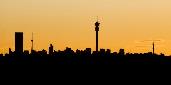 Johannesburg's skyline. South Africa struggles with lacklustre economic growth and high unemployment.