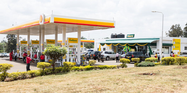 A Shell service station in Nairobi featuring a Tuskys convenience store