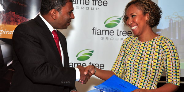 Suzie Wokabi (right) and Heril Bangera, CEO of Flame Tree Group