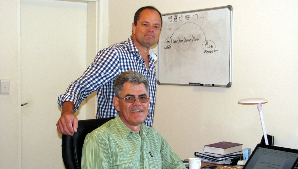 Deon Bezuidenhout and Lucas Greyling (seated) are the owners of DotXML, an IT company that develops the back-end technological solutions for insurers to specifically target the unbanked, informal trader, living on an average household income of US$8 a day.