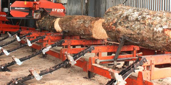 The LT20's in Liberia cutting rubberwood blocks 600x400