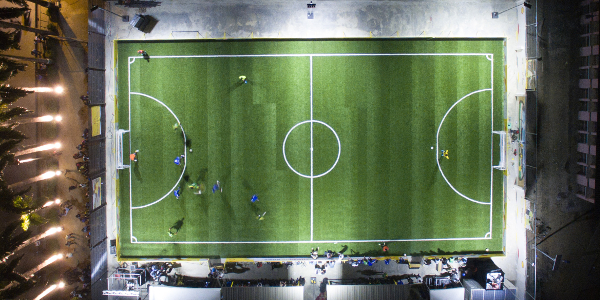 This football pitch at the Federal College of Education in Akoka, Lagos, is powered by both kinetic and solar energy.