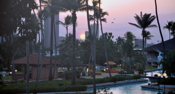 A sunset view from the Sofitel Abidjan Ivoire hotel.