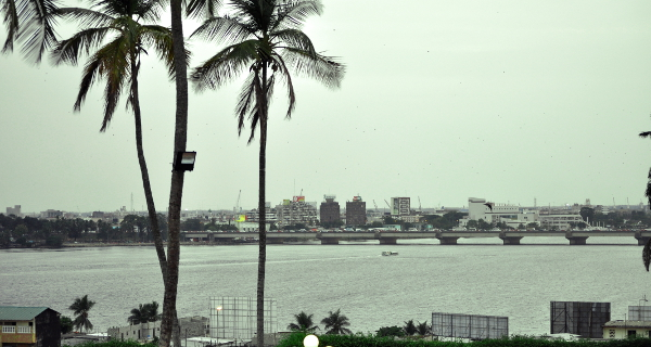 Abidjan is beautifully surrounded by palm trees and the Ébrié Lagoon.