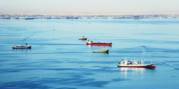 Walvis Bay is Namibia's largest commercial port.