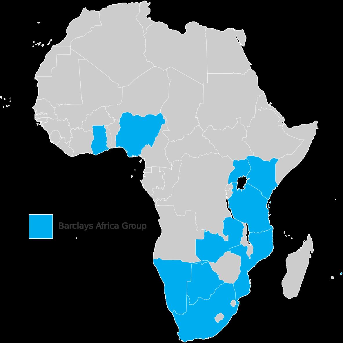 Barclays' Africa presence. Rasagy, CC BY-SA